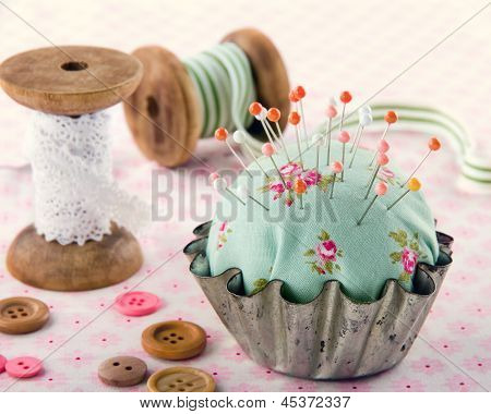 Buttons, Pincushion, And Other Sewing Items