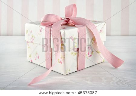Gift Box Tied With Pink Ribbon