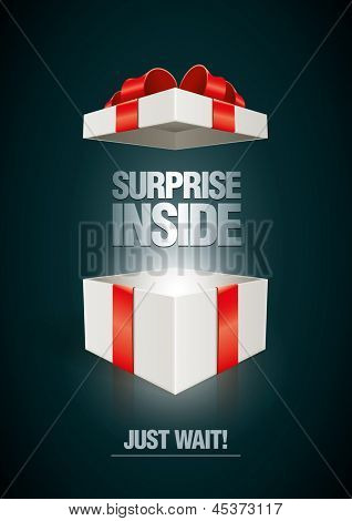 Vector surprise inside open gift box design template. Elements are layered separately in vector file.