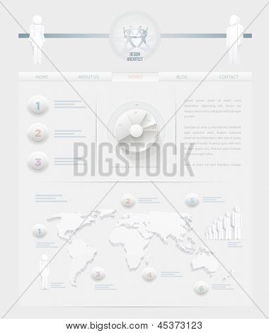 Vector infographic themed white web site design template. Elements are layered separately in vector file. Easy editable.