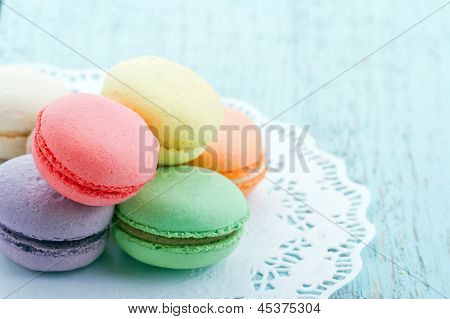 Pastel Color Macaroons On Blue Background