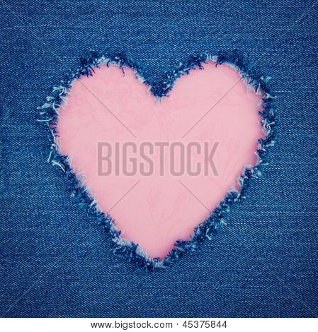 Pink Vintage Heart On Blue Denim Fabric