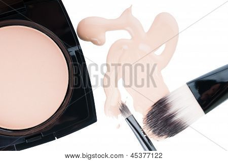 Set For Professional Make-up On White