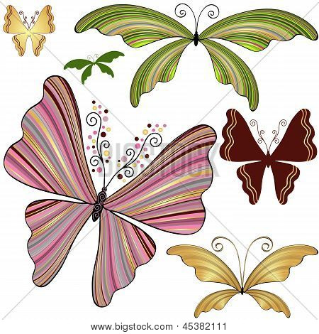 Set Fantasy Striped Butterflies