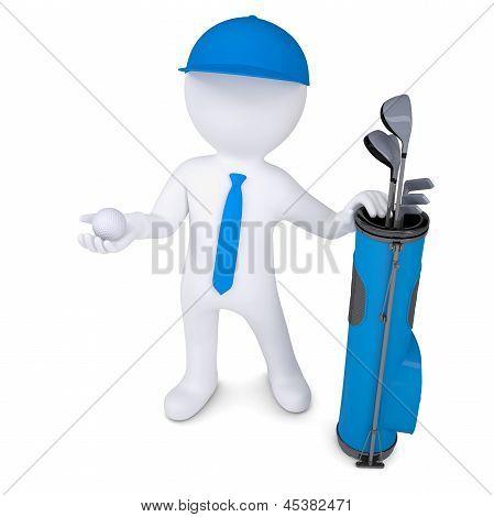 3d white man holding a golf ball