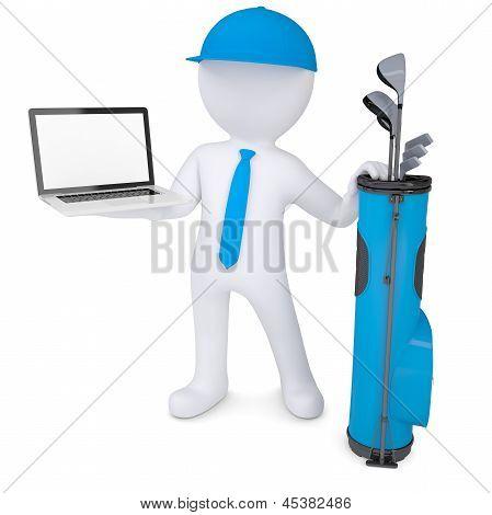 3d white man holding a laptop