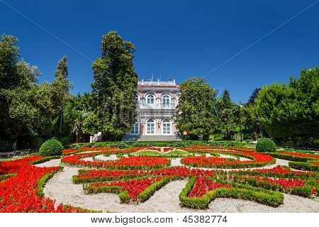 Villa Angiolina With A Beautiful Flowerbed Before An Entrance, Opatija, Croatia