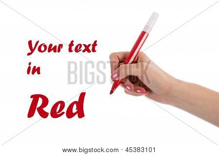 Hand Writing With Red Pencil Isolated On White Background