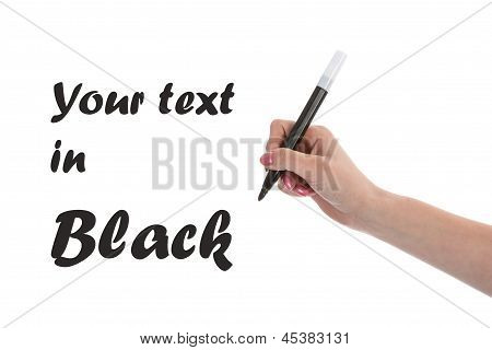 Hand Writing With Black Pencil Isolated On White Background