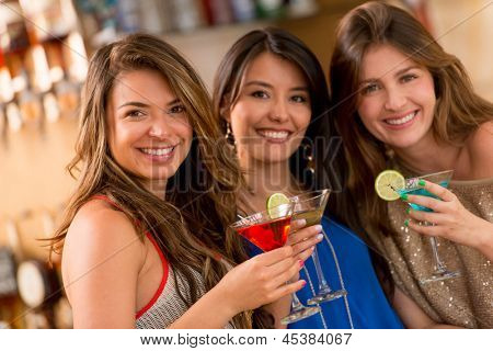 Girls night out having drinks at the bar
