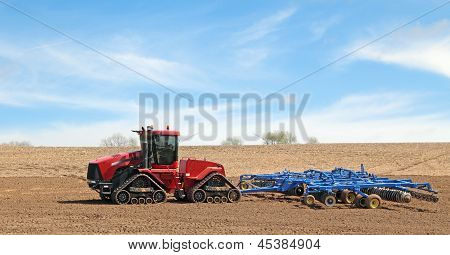 Red Tractor And Plow