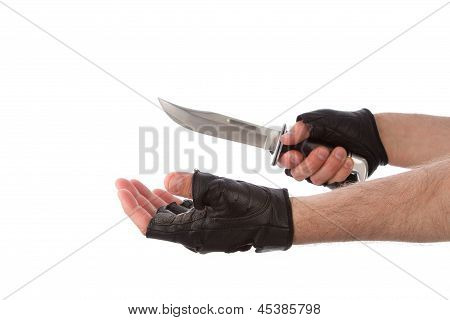 Robber With Knife Holding Out Hand