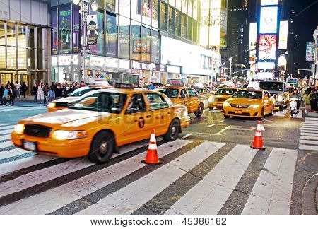Traffic In Time Square, New York