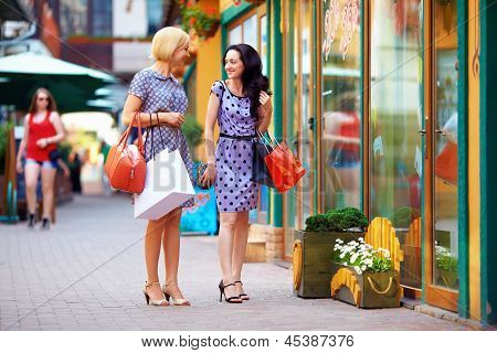 Beutful Young Women Walking The City Stores, Shopping
