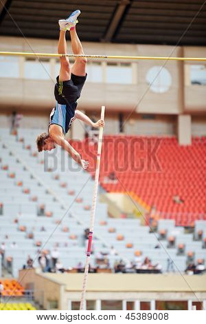 MOSCOW - JUN 11: Pole vaulter at Grand Sports Arena of Luzhniki OC during International athletics competitions IAAF World Challenge Moscow Challenge, June 11, 2012, Moscow, Russia.