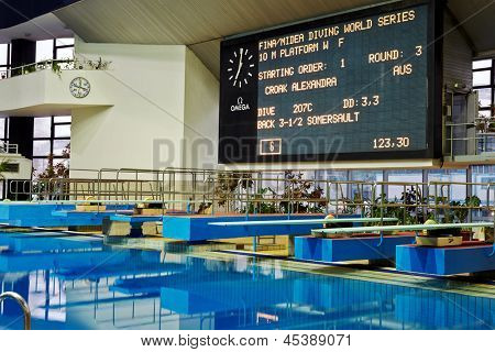 MOSCOW - APR 13:  Display with results at competitions on syncronized springboard diving in Pool of SC Olympic on day of third phase of World Series of FINA Diving, April 13, 2012, Moscow, Russia.