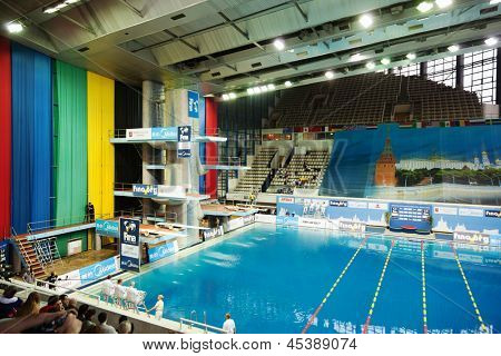 MOSCOW - APR 13:  Participants, judges and spectators in Pool of SC Olympic on day of third phase of the World Series of FINA Diving, April 13, 2012, Moscow, Russia.