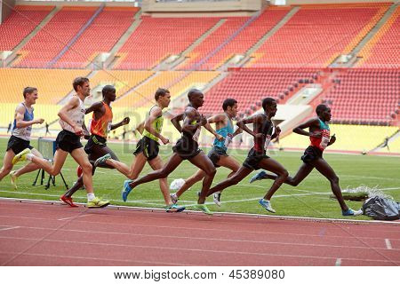 MOSCOW - JUN 11: Participants of race on racetrack at Grand Sports Arena of Luzhniki OC during International athletics competitions IAAF World Challenge Moscow Challenge, Jun 11, 2012, Moscow, Russia.