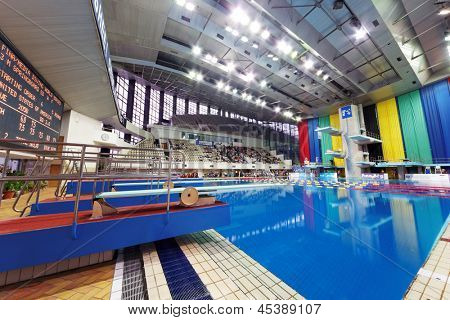 MOSCOW - APR 13:  Pool of SC Olympic on day of third phase of the World Series of FINA Diving, April 13, 2012, Moscow, Russia. Jumping sector of pool equipped with stands for 4,500 spectators.