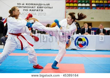 MOSCOW - JUN 9: Fight between female participants of 10th Team Championship of Europe on karate at OC Luzhniki, Small sports arena, June 9, 2012, Moscow, Russia.