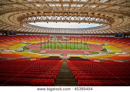 MOSCOW - JUN 11: Grand Sports Arena of Luzhniki Olympic Complex during International athletics competitions IAAF World Challenge Moscow Challenge, June 11, 2012, Moscow, Russia.