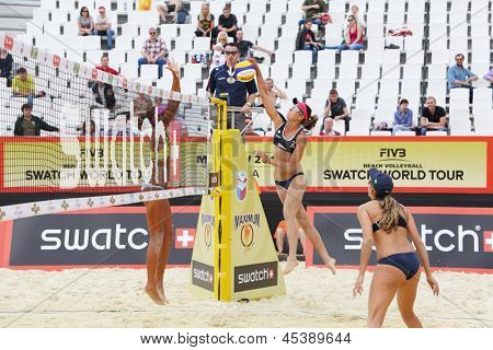 MOSCOW - JUNE 6: Teams from Brazil play volleyball in Country Quota at tournament Grand Slam of beach volleyball 2012, on June 6, 2012 in Moscow, Russia.