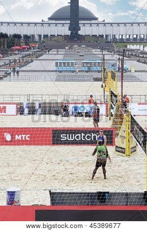 MOSCOW - JUNE 6: Players at additional game courts on Poklonnaya Hill at tournament Grand Slam of beach volleyball 2012, on June 6, 2012 in Moscow, Russia.