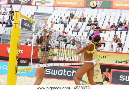 MOSCOW - JUNE 6: Brazil teams play volleyball in Country Quota at tournament Grand Slam of beach volleyball 2012, on June 6, 2012 in Moscow, Russia.