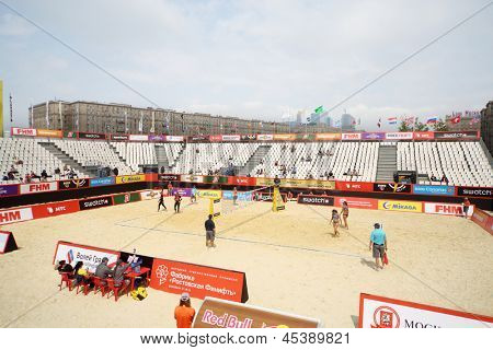 MOSCOW - JUNE 6: Area for tournament Grand Slam of beach volleyball 2012, on June 6, 2012 in Moscow, Russia.
