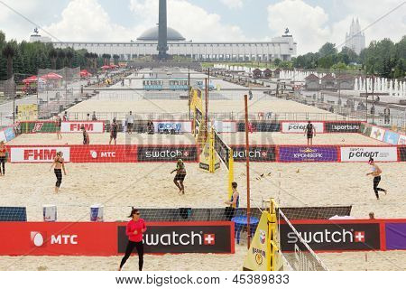 MOSCOW - JUNE 6: Additional game courts on Poklonnaya Hill at tournament Grand Slam of beach volleyball 2012, on June 6, 2012 in Moscow, Russia.
