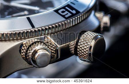 Detalhe do relógio de luxo
