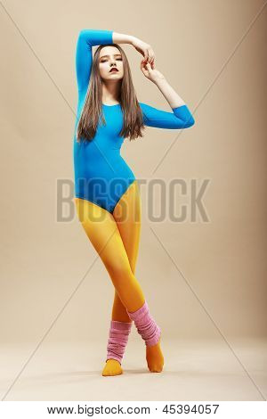 Fitness. Healthy Svelte Woman In Sport Clothes And Uppers. Wellness