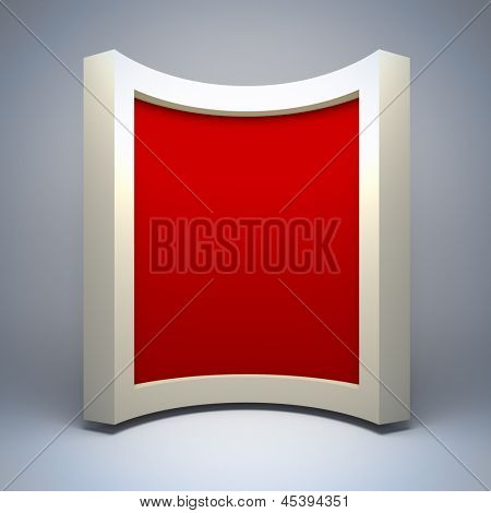 Empty curved  frame. A 3d illustration blank template layout of empty border.