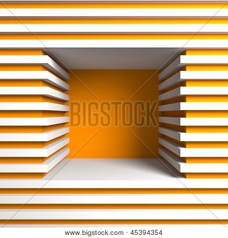 Empty showcase. A 3d illustration blank template layout of empty shelf.