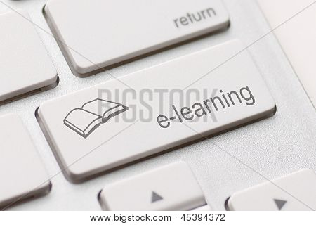 E-learning Concept. Computer Keyboard