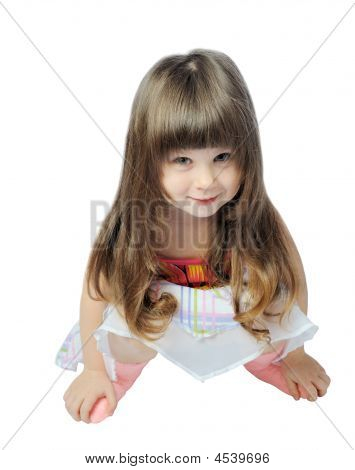 Happy Little Girl Isolated On A White