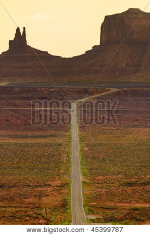 Digitally Created Image Of A Roadway Leading To Monument Valley