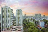 image of public housing  - Sunset Over Singapore Government Public Housing Estate - JPG