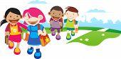 picture of children walking  - children go to school - JPG