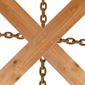 Crossed Wooden Planks And Rusty Chain