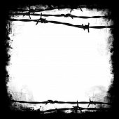 stock photo of barbed wire fence  - Barbed wire black square frame border with white blank middle for your own design - JPG