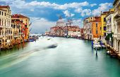 stock photo of historical ship  - Grand Canal and Basilica Santa Maria della Salute Venice Italy and sunny day