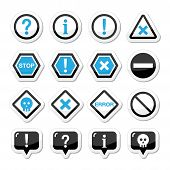 Computer system vector icons - warning, danger, error