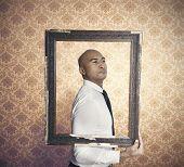 picture of exaltation  - Businessman proud of himself inside a frame - JPG