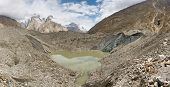 pic of karakoram  - Lake on top of Baltoro Glacier Karakorm Pakistan - JPG