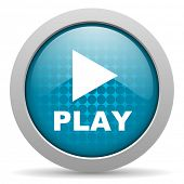 play blue circle web glossy icon