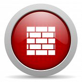 firewall red circle web glossy icon
