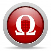 omega red circle web glossy icon