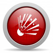bomb red circle web glossy icon