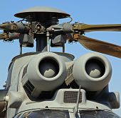 Air intakes and propeller on helicopter.